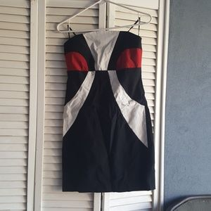 Black, red and white strapless dress